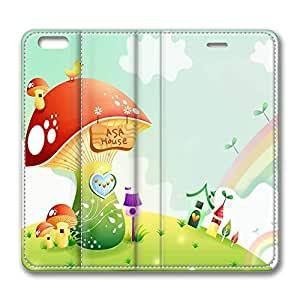 iPhone 6 Plus Case, Fashion Protective PU Leather Flip Case [Stand Feature] Cover Spring Landscape With Rainbow 2 for New Apple iPhone 6(5.5 inch) Plus