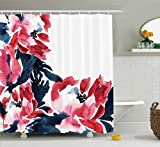 Pink Flower Shower Curtain Hooks Ambesonne Floral Decor Shower Curtain, Flower Decorations Watercolor Style Effect Illustration of Peonies Print, Fabric Bathroom Decor Set with Hooks, 70 Inches, Pink and Dark Blue