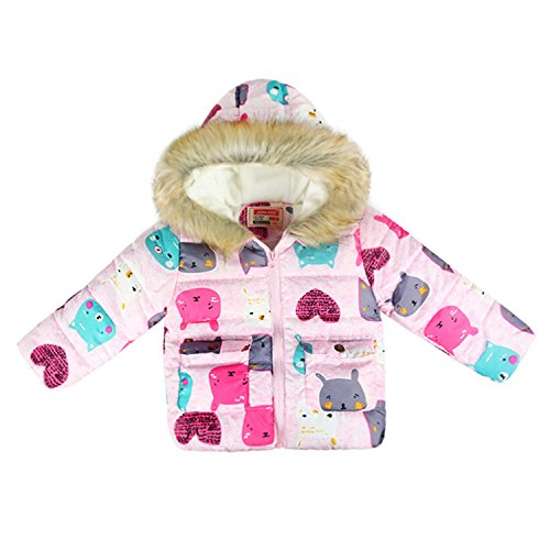 Price comparison product image Baqijian Girls Parka Winter Coat Fur Children Outerwear Baby Jackets Coats Cartoon Cat Children Jacket Parkas Kids Parkas Pink 7T