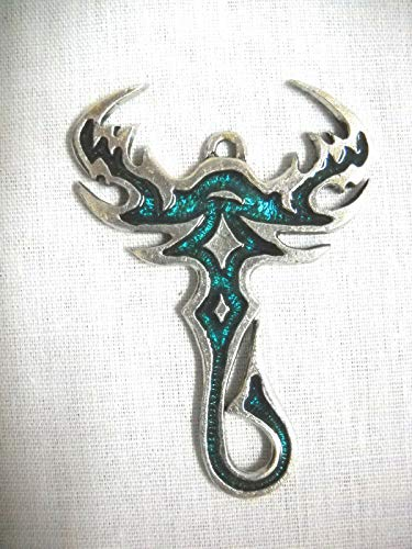 New Tribal Tattoo Scorpion Tattoo w Teal Blue Inlay Pendant ADJ Necklace KEZ-1219