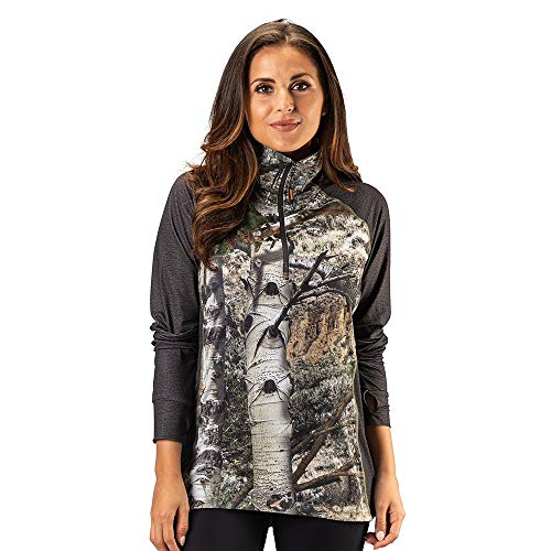 TrailCrest Ladies Mossy Oak Impulse 4 Way Stretch 1/4 Zip Performance Top, Mountain Country & Charcoal Heather, Large