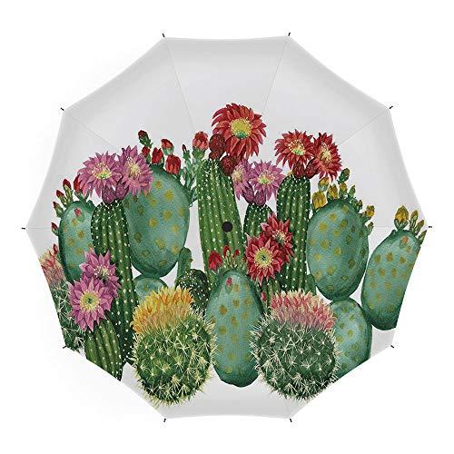 tus Decor,for Women Men Vinyl Anti-UV Lightweight 45 Inch,Saguaro Barrel Hedge Hog Prickly Pear Opuntia Tropical Botany Garden Plants Decorative ()
