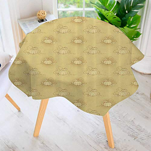 Hand Screen Printed Tablecloth-Pumpkins The Earth Background Halloween Harvest Seasal Squash Plant Modern Printed Spill Proof Cloth Round Tablecloths 55