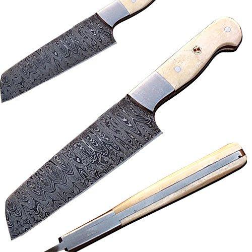 Handmade Damascus Steel Tanto Chef Knife Camel Bone Handle