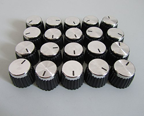 Guitar AMP Knobs Top Fits Marshall Amplifier, 20 Pcs Black with Silver Cap -