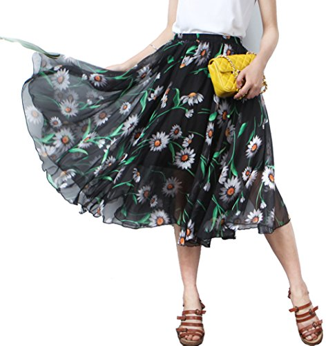 Printed Skirt Gypsy - MINGXIN Gypsy / Bohemian Women's Printed Chiffon Pleated Knee-Long Skirt Multi11