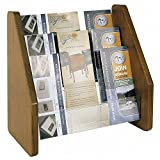 Three Tier Brochure Holder Acrylic Pockets/Mahogany Oak Frame Dimensions: 13.5''W x 8.25''D x 13.25''H Weight: 11 lbs
