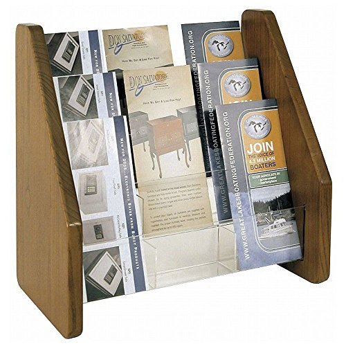 Three Tier Brochure Holder Acrylic Pockets/Mahogany Oak Frame Dimensions: 13.5''W x 8.25''D x 13.25''H Weight: 11 lbs by Buddy Products