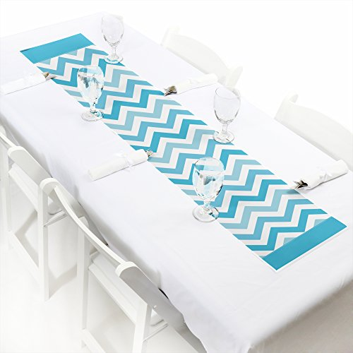 Big Dot of Happiness Chevron Blue - Petite Baby, Bridal Shower or Birthday Party Paper Table Runner - 12'' x 60'' by Big Dot of Happiness