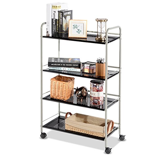 Giantex Steel Utility Cart Storage Shelf Rack Mobile Casters Metal Mesh Commercial Kitchen Warehouse Garage Bathroom Capacity Shelving Shelves Organizer W/Lockable Rolling Wheels (4 Tier Wide) by Giantex