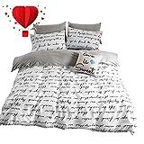BuLuTu Love Letters Print Cotton Kids Duvet Cover Queen Set White Gray Premium Modern Teen Boys Girls Bedroom Bedding Sets Queen Comforter Cover Zipper Closure,Hotel Quality,NO Comforter