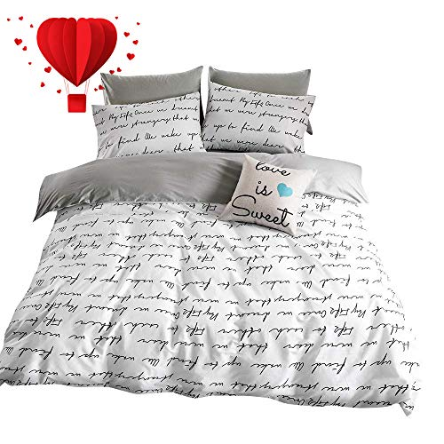 BuLuTu Love Letters Print Modern Men Duvet Cover Set King White Gray 100 Percent Cotton,Lightweight Premium Teen Adults Bedroom Bedding Sets with Zipper Closure,Hotel Quality,No ()