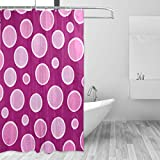 Hot Pink Polka Dot Shower Curtain LORVIES Hot Pink Polka Dots Shower Curtain Polyester Fabric Water Repellent Mildew Resistant Shower Curtain for Bathroom Bathtubs Decorative, 72W X 72L Inches