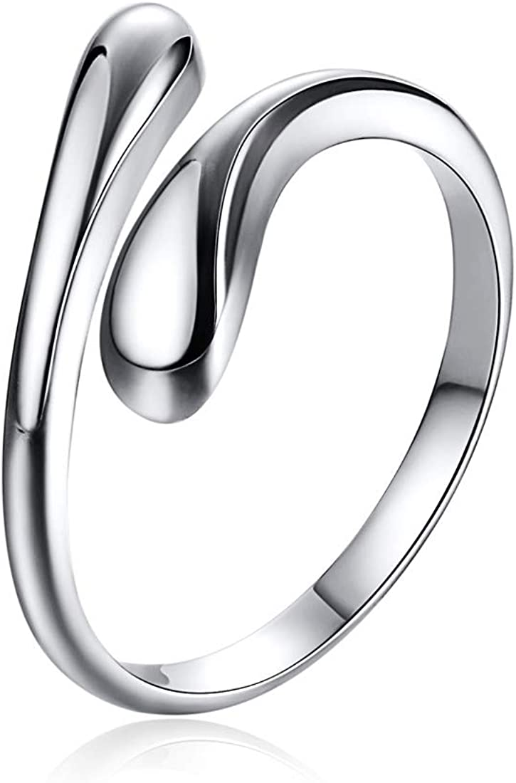 ChicSilver 925 Sterling Silver Ring Minimalist Teardrop High Polish Tarnish Resistant Comfort Fit Open Adjustable Ring Promise Ring for Women(with Gift Box)