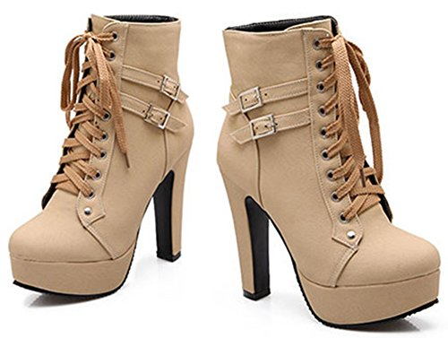 Biker Booties Platform Comfy IDIFU Lace High Buckle Short Heels Boots Women's Block Beige Up Ankle PT771pwq0x