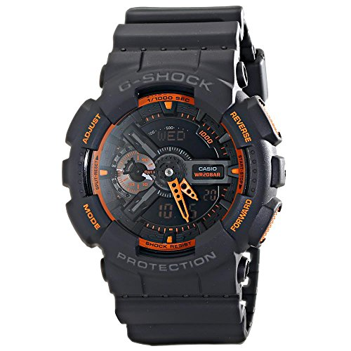 Casio Men's GA-110TS-1A4 G-Shock Analog-Digital Watch With Grey Resin Band Orange G-shock