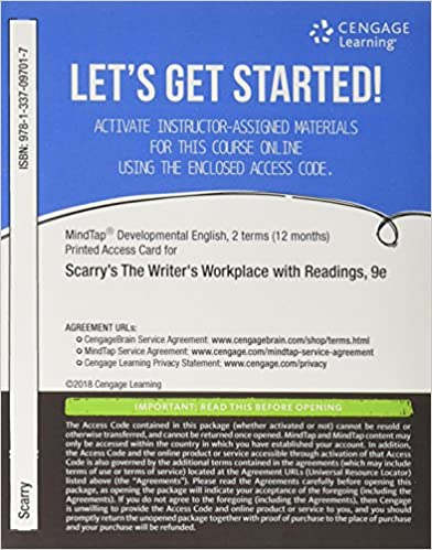 Amazon mindtap developmental english 2 terms 12 months mindtap developmental english 2 terms 12 months printed access card for scarryscarrys the writers workplace with readings building college writing fandeluxe Images