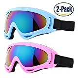 Ski Goggles, Pack of 2, Yidomto Snowboard Goggles for Kids, Boys, Girls, Youth
