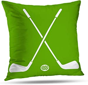 Suesoso Pillowcover 18 x 18 Inch Golf Sports in Apple Green and White Throw Pillow Cover Home Decorative Cushion Case Pillow Case Sofa Bed Car Living Home with Hidden Zippered