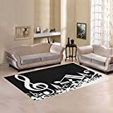 Love Nature Sweet Home Modern Collection Custom Black and White Music Note Area Rug 7'x5' Indoor Soft Carpet