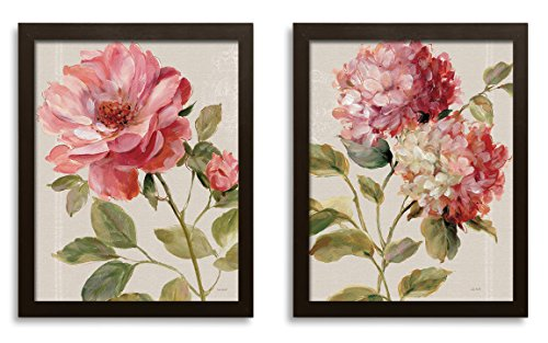Beautiful Blooming Rose and Hydrangea Flower Print Set by Lisa Audit; Floral Decor; Two 11x14in Brown Framed Prints; Ready to hang!