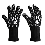 BBQ Oven Gloves, [Updated version] Extreme Heat Resistant oven gloves For Cooking, Grilling, Baking, LERMX Non-Slip Potholders Internal Protective Cotton Layer for Oven Mitts & BBQ Accessories&Kitchen