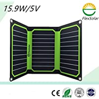 FlexSolar 16W 16.5V/5V Foldable Solar Panel Portable Sunpower Charger with Universal Dual USB Port Cable for Cell Phone Green