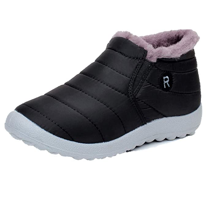 db0b8865c0841c Amazon.com: Women Winter Loafer Waterproof Fur Lining Flats Outdoor ...