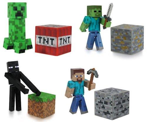 Minecraft steve zombie creeper enderman set of 4 figures from mj minecraft toy - Minecraft creeper and steve ...
