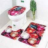 Christmas Toilet Floor Mat 3 Pieces Cover,Suction Grip Bath Mat Bathroom Kitchen Carpet Doormats Decor 3Pcs by PSFS (1, C)