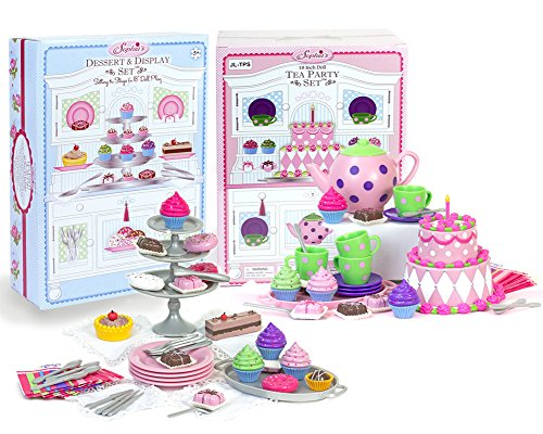 18 Inch Doll Tea Party & Dessert Food Set, Two Complete Doll Sets for Your Favorite 18 Inch Doll | Includes 64 Pieces of Pretend Doll Food & Accessories - Party Doll Set