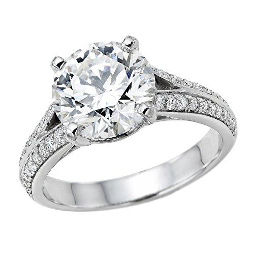 18k White Gold Moissanite Ring - Moissanite Forever One D-F VVS 8MM & Diamond Engagement Ring 18K Gold/White Round Cut (Equivalent 1.9 ct Diamond Weight)-7.5