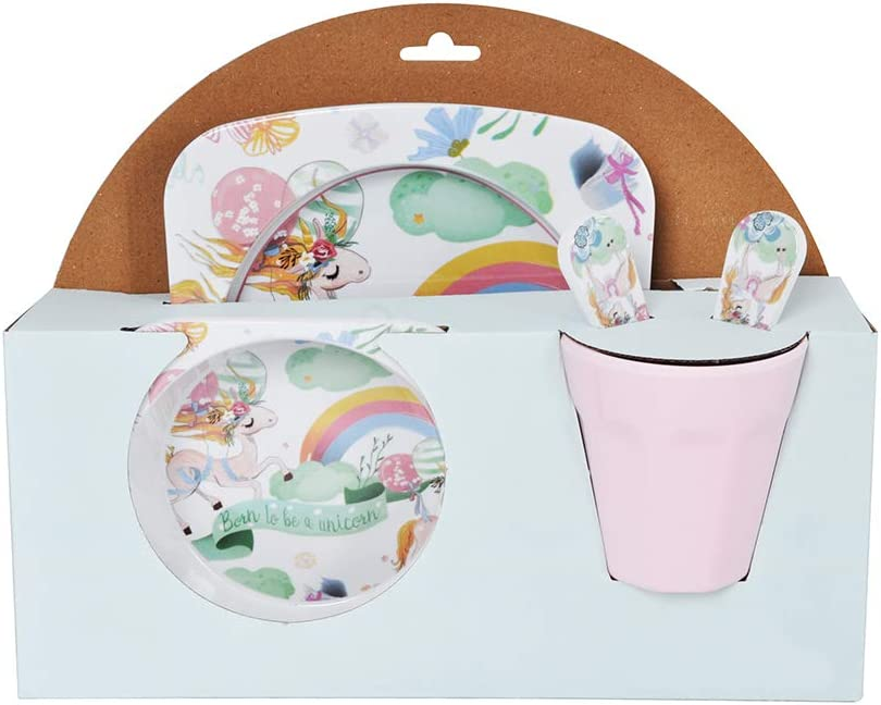 Piraten Design Furany 5 Teiliges Kindergeschirr Set aus Melamin Piraten Design M/üslischale Kinderteller Trinkbecher Einhorn Design