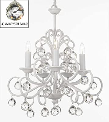 "Bellora Crystal White Wrought Iron Chandelier Chandeliers Lighting with Faceted Crystal Balls H 22"" W 20"""