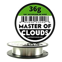 Nichrome 80 - 100 ft 36 Gauge AWG Resistance Wire 0.13mm 36g 100' by Master Of Clouds