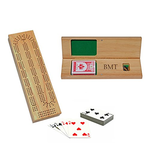 WE Games Custom Engraved Wooden Cribbage Set - 3 Track, Pegs, Cards, and - Game Board Personalized