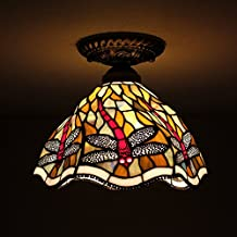8-inch Vintage Pastoral Stained Glass Tiffany Dragonfly Ceiling Light Living Room Chandelier Hallway Chandelier