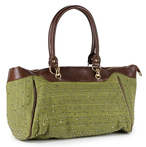 Poplife Women's Satchel Denim Vegan Leather Handbag Brown Blue Green Rhinestones Bag