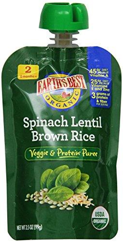 Лучший органических Этап 2, шпинат, чечевица и коричневый рис, 3,5 унции Чехол (в упаковке 12) Земли