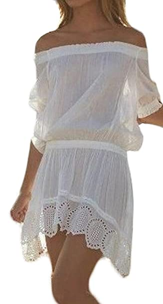 6e83f9d33516 Saoye Fashion Vestiti Donna Estivi Eleganti Corti Vintage In Pizzo Mare  Spiaggia Cerimonia Senza Spalline Backless Spalla Di Parola Casual Bianchi  Vestitini ...