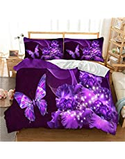 Purple Duvet Cover 3D Galaxy Purple Butterfly Floral Pattern Printed Comforter Cover with Zipper Closure, Soft Microfiber Bedding Set for Home Decor