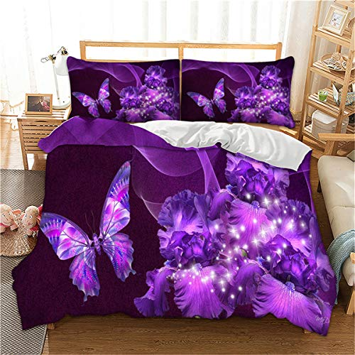 Luxury Purple Bedding Duvet Cover Set with Zipper Closure- 3D Galaxy Purple Butterfly Floral Printed Bedding Set, Queen (90