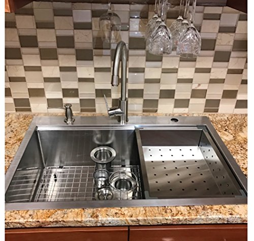 33 X 22 Top-mount Single Bowl Kitchen Sink Drop-in 304 Stainless Steel 16 Gauge By SuperSuper Proofing (Bottom Mount Kitchen Faucet)