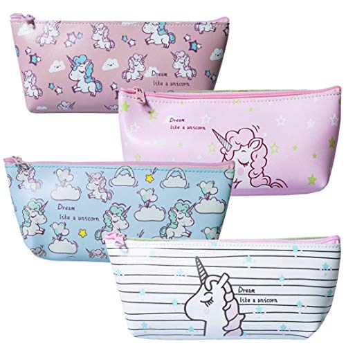 DPIST 4 Pack Pencil Case for Kids Cute Unicorn Unique Design Pen Box Pourch Holder-Best Unicorn Gifts for Girls