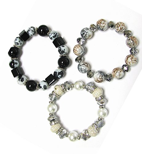 Faceted Black Stretch Bracelet - Linpeng Stretch Bracelets/11 to 13 mm Glass & Ceramic Beads/Length 7.5