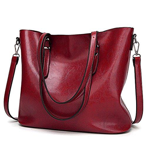 ToLFE Top Handle Satchel Handbags Shoulder Bag Messenger Tote Bag Purse for Women (Red-03) (Red Handbag Satchel)