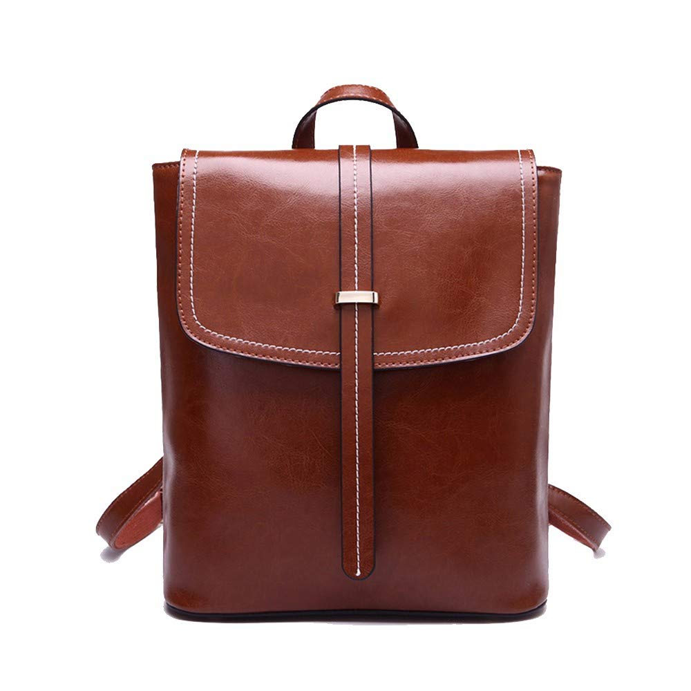 Borsa di pelle, lady borsa può essere singola spalla, portatili, grandi capacità studente borsa,Marronee