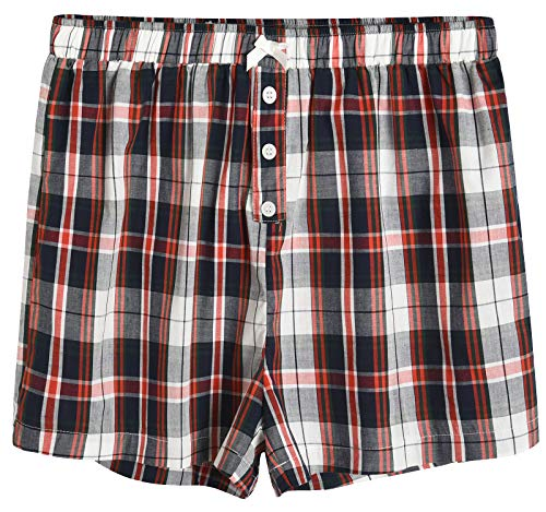 (Latuza Women's Sleepwear Cotton Plaid Pajama Boxer Shorts XL Navy & Red)