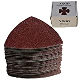XXGO 55 Pcs Triangular 3-1/8 Inch 60/80/100/120/240 Grits Hook & Loop Multitool Sandpaper for Wood Sanding Contains 11 of Each Fit 3-1/8 Inch Oscillating Multi Tool Sanding Pad XG5501