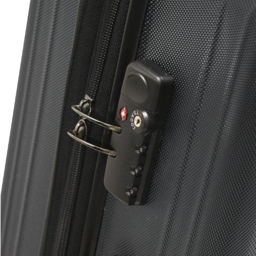 Traveler's Choice Tasmania 100% Pure Polycarbonate Expandable Spinner Luggage, Black, 3-Piece Set